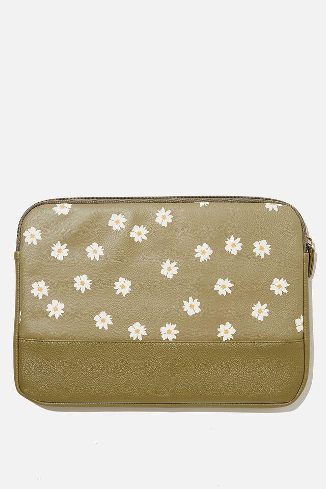 Take Me Away 13 Inch Laptop Case, RG DAISY KHAKI WITH KHAKI SPLICE
