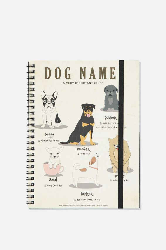 A5 Spinout Notebook - 120 Pages, DOG NAMES