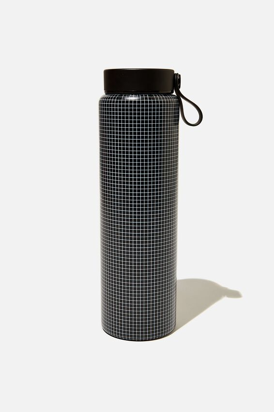 On The Move Metal Drink Bottle 1L, BLACK GRID