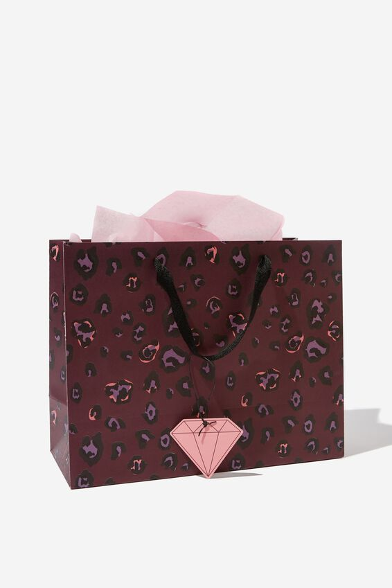 Medium Gift Bag with Tissue Paper, LEOPARD