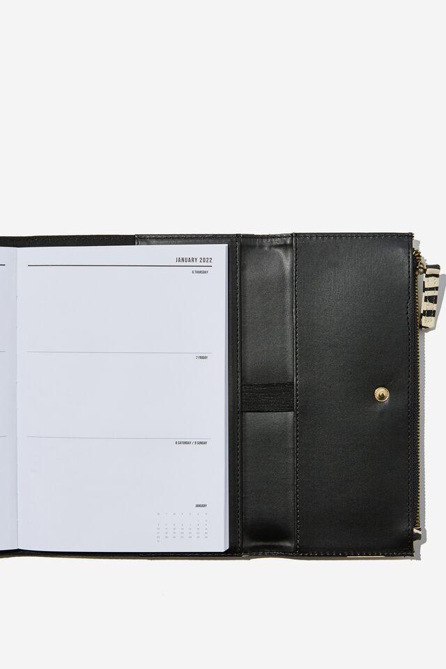 2022 Zip Pocket Diary, ECRU BLACK ZEBRA