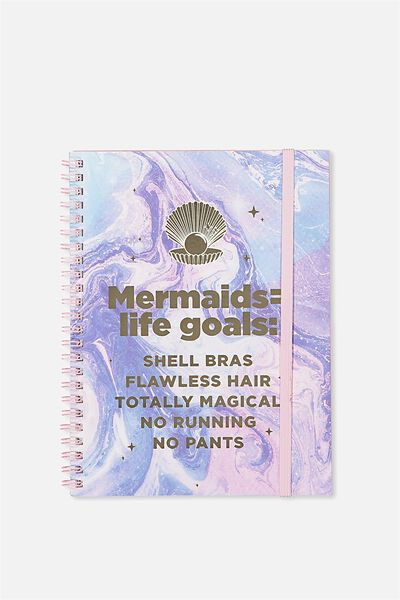 A5 Spinout Notebook - 120 Pages, MERMAID GOALS