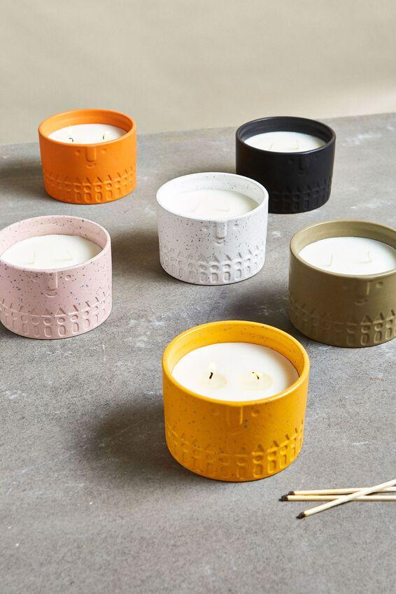 Ceramic Face Candle, MUSTARD