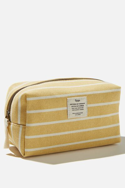 Brooklyn Pencil Case, WASHED MUSTARD 70S STRIPE