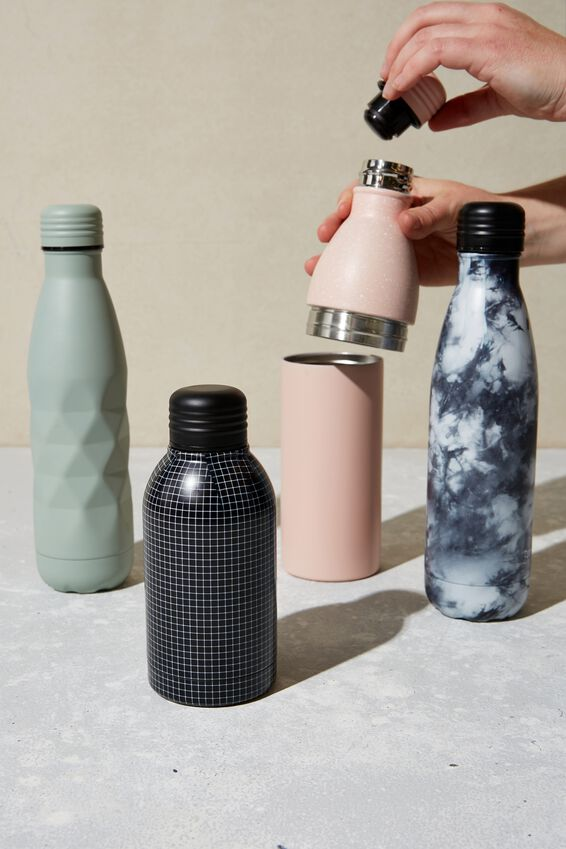 Mini Metal Drink Bottle, GRID CHECK