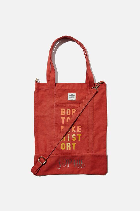 Personalised Book Tote, WASHED RUST MAKE HISTORY