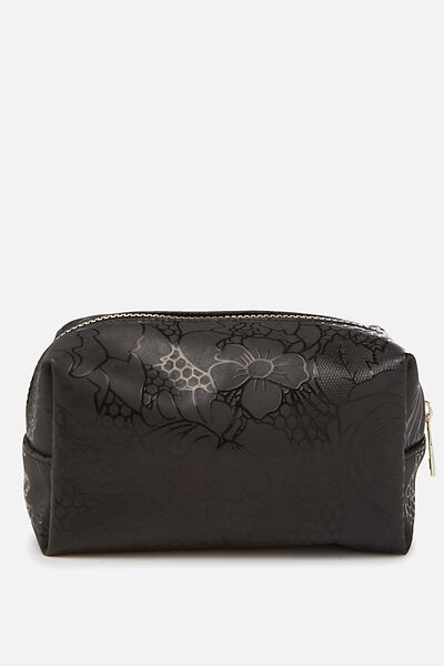 Made Up Cosmetic Bag, BLACK LACE GLOSS PRINT