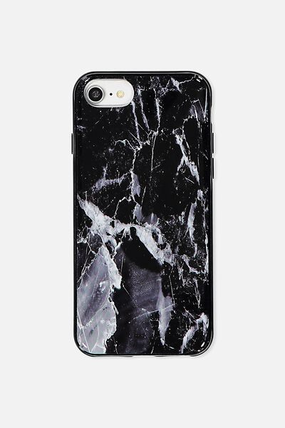 Transparent Phone Cover Universal 6,7,8, BLACK MARBLE