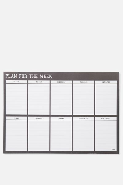 A3 Plan Ahead Planner, BLACK PLAN FOR THE WEEK