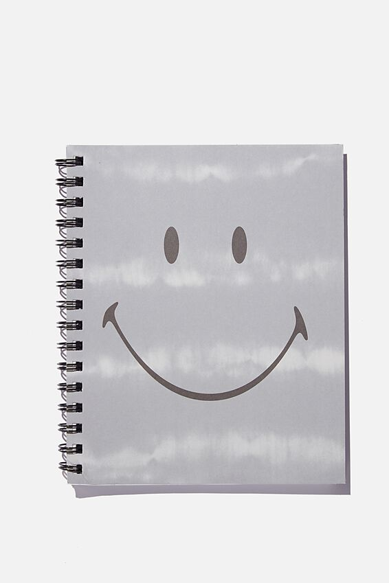 A5 Campus Notebook Recycled, LCN SMI SMILEY TIE DYE GREY