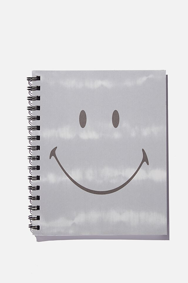 A5 Smiley Campus Notebook Recycled, LCN SMI SMILEY TIE DYE GREY