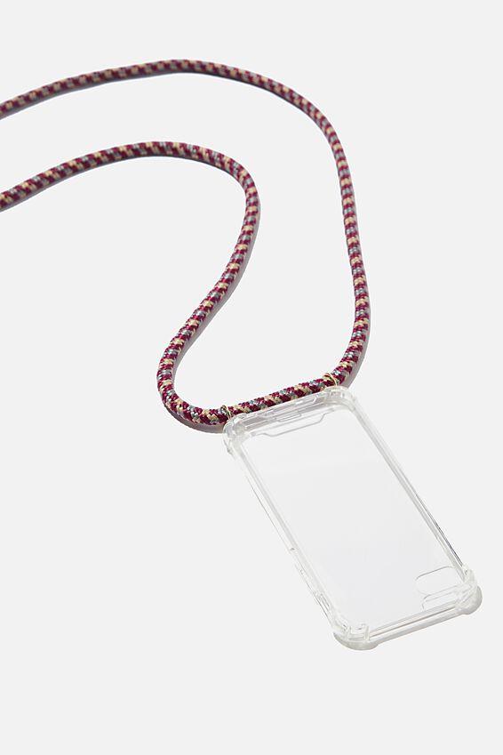 Cross Body Phone Case Iphone 6, 7, 8, CLEAR & ROSE MULTI