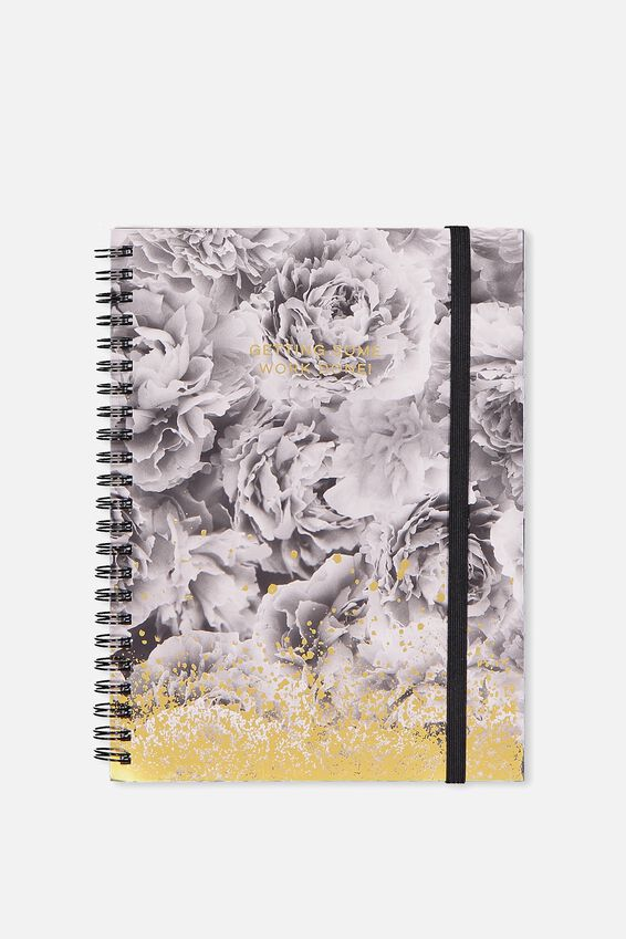 Small Spinout Notebook - V, BLACK AND WHITE PEONIES