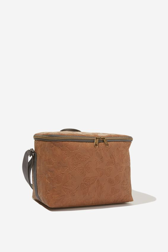 Premium Cooler Lunch Bag, TOOLED TAN BUTTERFLY