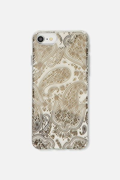 Transparent Phone Cover Universal 6,7,8, ROSE GOLD LACE
