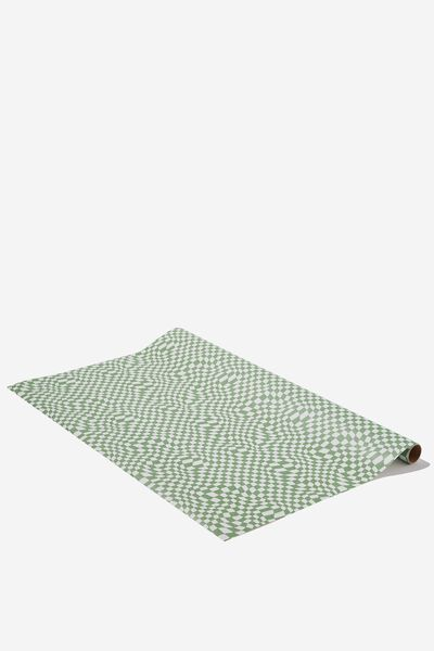 Wrapping Paper Roll, GREEN WARPED CHECKERBOARD