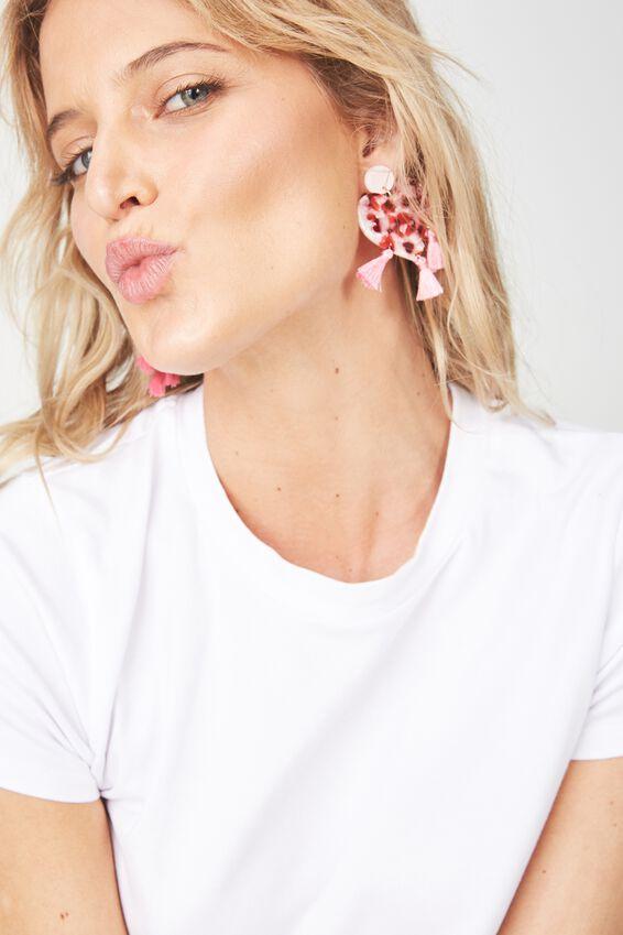 Premium Novelty Earrings, HEART TASSELS