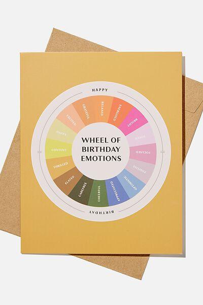 Nice Birthday Card, WHEEL OF BIRTHDAY EMOTIONS