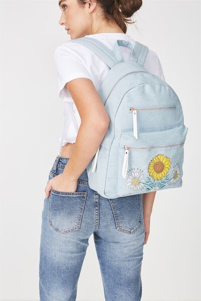 Campus Backpack, CHAMBRAY WITH FLOWERS
