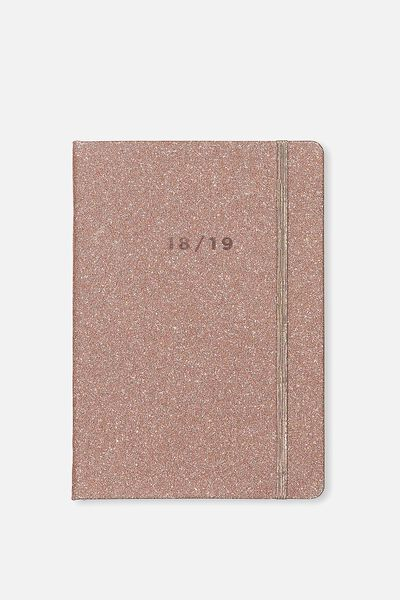 2018 19 Financial Year A5 Weekly Buffalo Diary, ROSE GOLD GLITTER