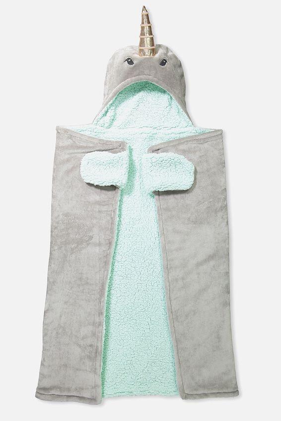 Novelty Hooded Blanket, NARWHAL