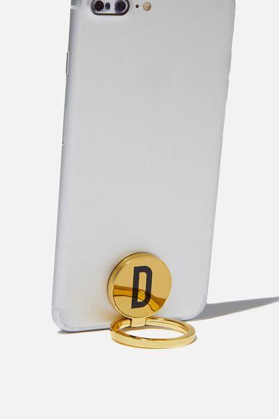 Metal Alpha Phone Ring, GOLD D