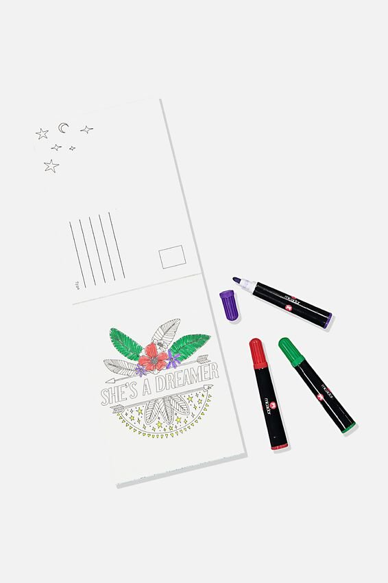 Post Card Colouring Book, BOHO MAGIC