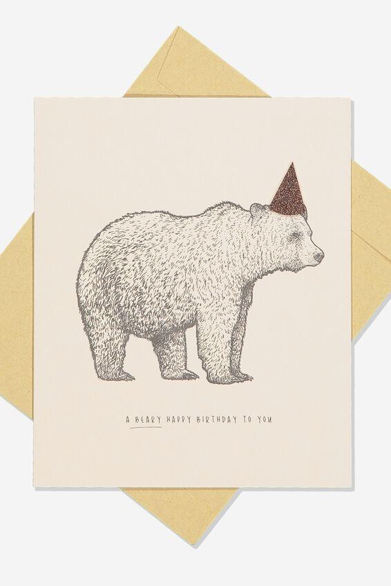 Premium Nice Birthday Card, GLITTER HAT BEAR