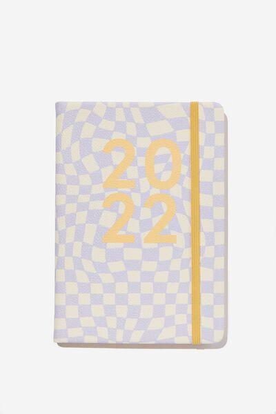 2022 A5 Weekly Buffalo Diary, WARP CHECKERBOARD LILAC