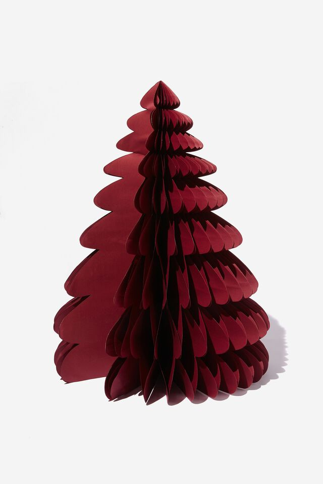 Paper Christmas Tree Large, BURGUNDY RED