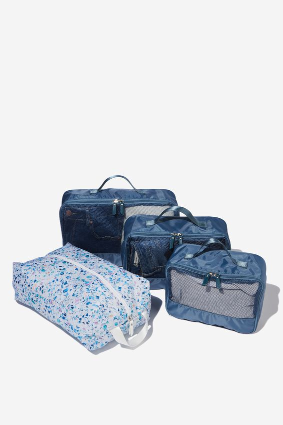4Pc Luggage Packing Cells, BLUE MULTI