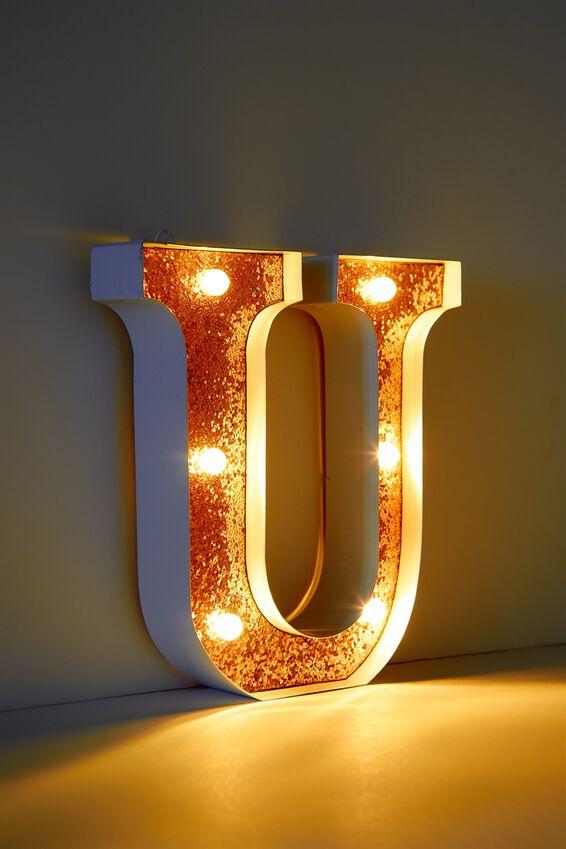 Marquee Letter Lights Premium 16cm Midi, WHITE WITH ROSE GOLD U