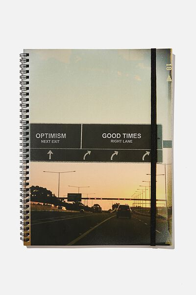 A4 Spinout Notebook Recycled, GOOD TIMES HIGHWAY SIGN