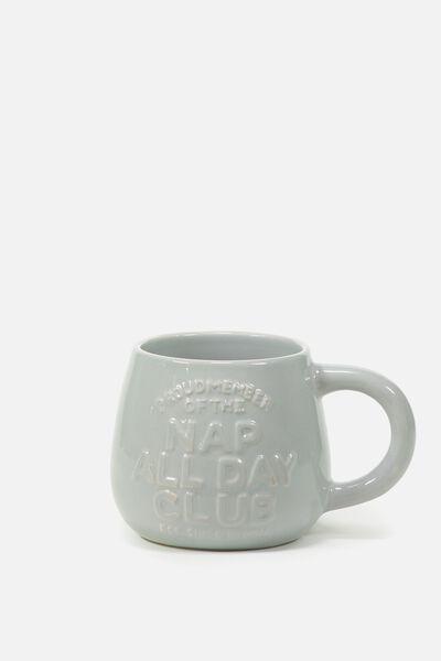 Subtle-Tea Mug, EMBOSSED NAP CLUB
