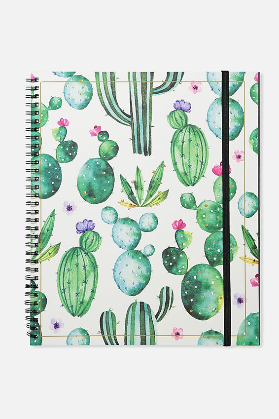 College Ruled Spinout Notebook V, WATERCOLOUR CACTUS