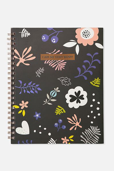 Large Campus Notebook - 240 Pages, PASTEL SKETCH FLOWER VERY BUSY