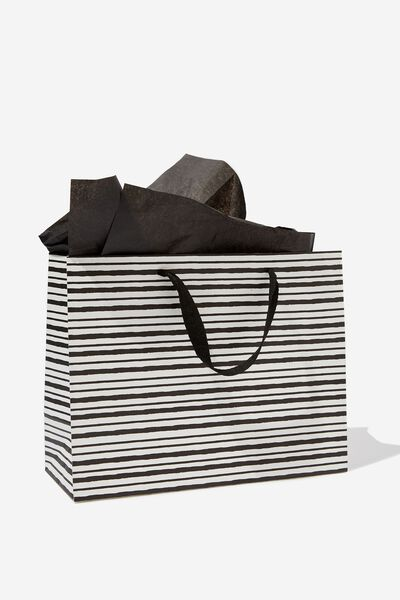 Medium Gift Bag with Tissue Paper, BLACK STRIPE