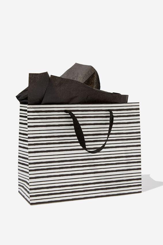 Medium Gift Bag with Tissue Paper, BLACK STRIPE