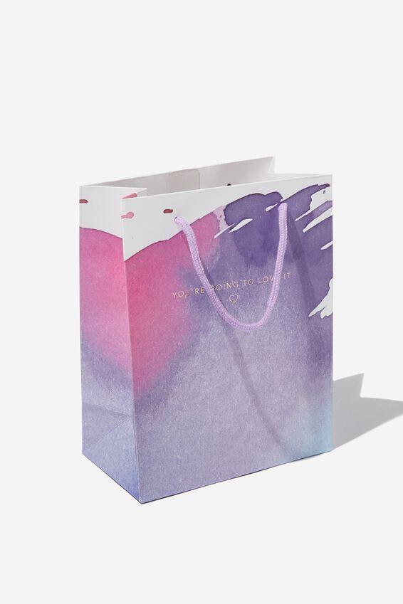 Small Stuff It Gift Bag, LOVE IT PURPLE STROKES