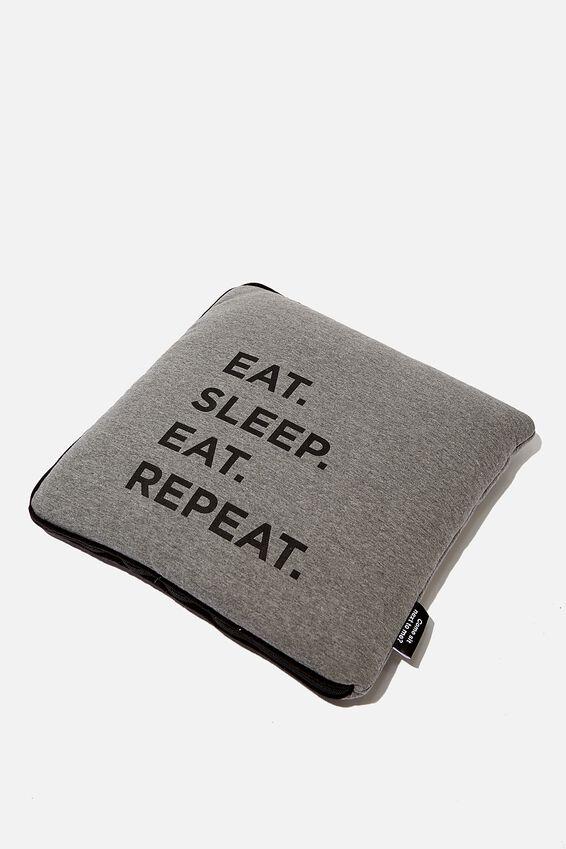Convertible Cushy Cushion Throw, EAT SLEEP REPEAT
