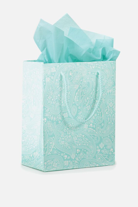 Small Gift Bag with Tissue Paper, BLUE LACE