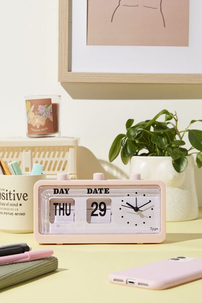 Retro Flip Clock, PALE PINK