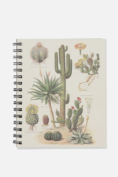 A5 Campus Notebook Recycled, CACTUS  BOTANICAL