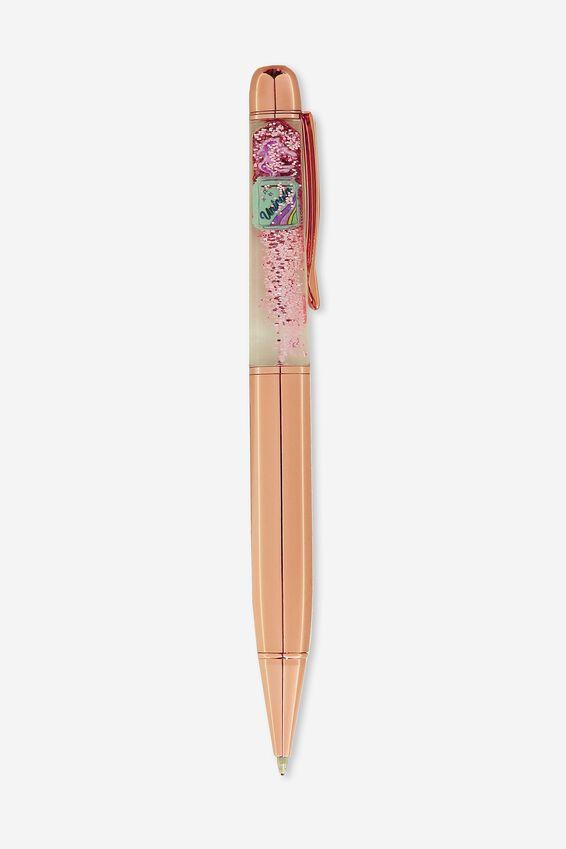 Shake It Ballpoint Pen, ROSE GOLD UNICORN