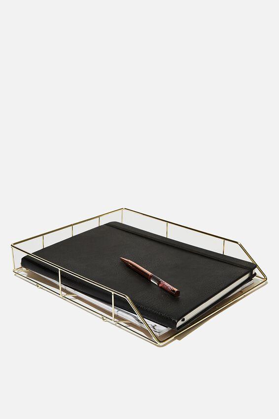 Desk Tray, GOLD GRID