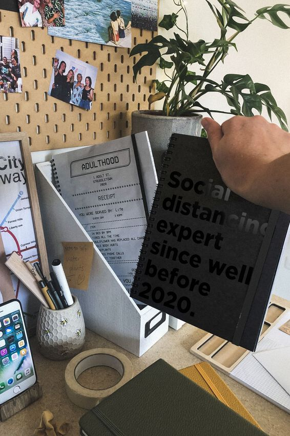A5 Limited Edition Spinout Notebook, SOCIAL DISTANCING