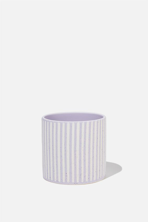 Midi Shaped Planter, LILAC & ECRU STRIPE