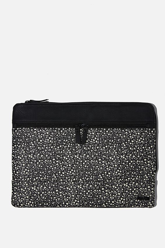 """Oxford 13"""" PU Laptop Case, BLACK MEADOW DITSY WITH JETT BLACK"""