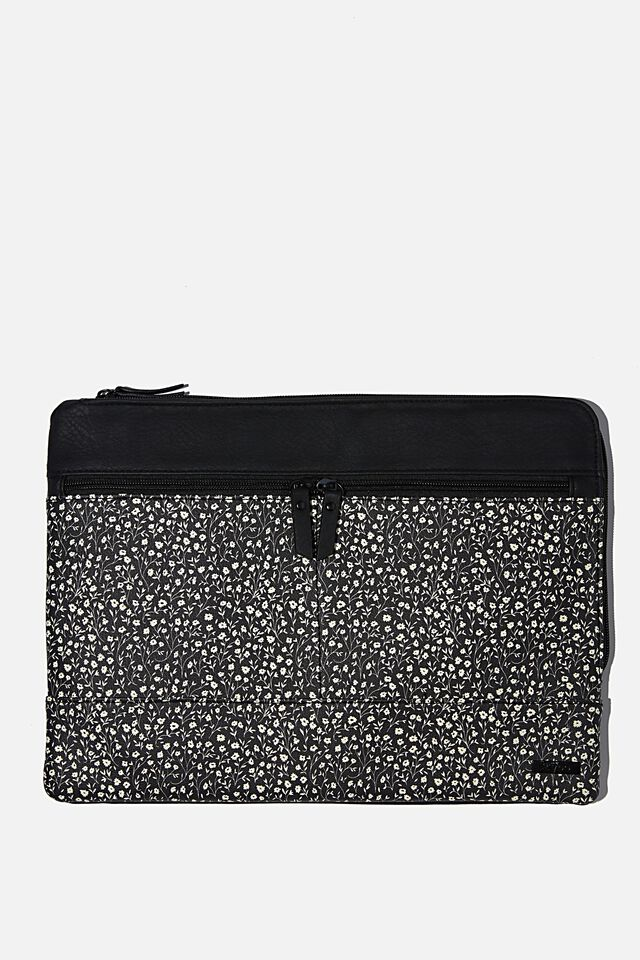Oxford 13 Inch PU Laptop Case, BLACK MEADOW DITSY WITH JETT BLACK