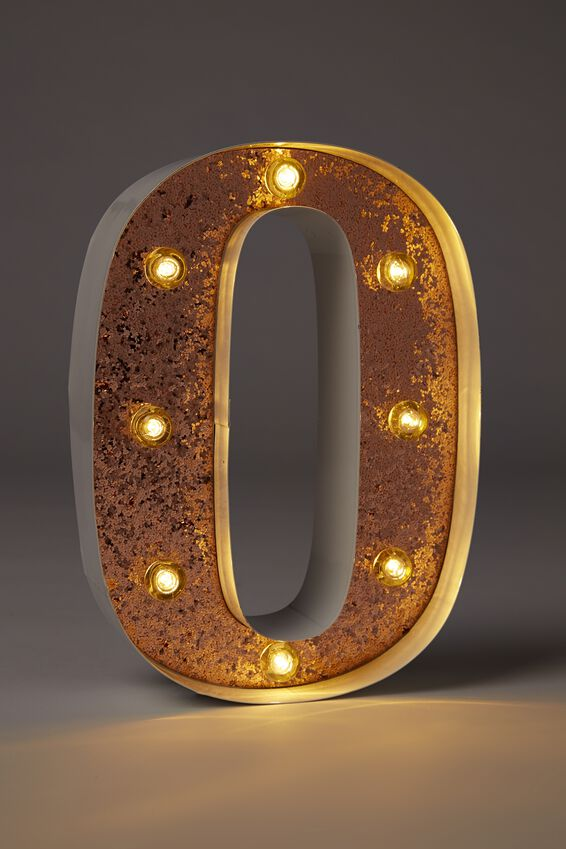Small Marquee Letter Lights 23cm, WHITE WITH ROSE GOLD GLITTER O